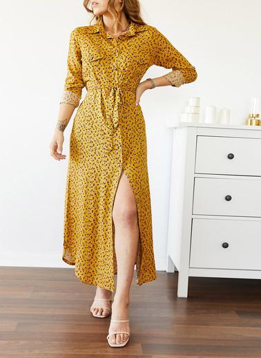XHAN Desenli Gömlek Elbise 0Yxk6-43512-10 Sarı